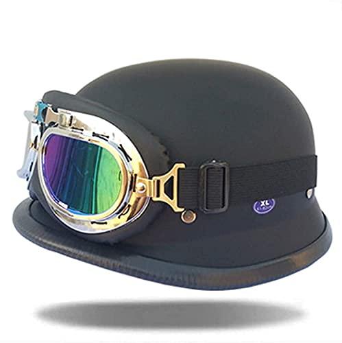CHLDDHC Casco de Cuero para Motocicleta, Casco de protección Segura de Media Cara, Gafas de piloto certificadas por Dot, Casco de Motociclista Chopper Cruiser + Gafas