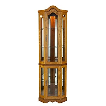 SEI Furniture Lighted Corner Curio Cabinet Golden Oak