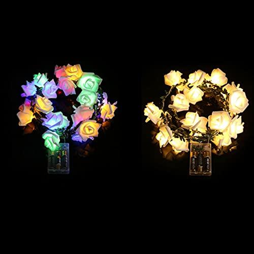 WINFCOY 2 Piezas 20 Luces de Cadena LED de Flores Rosas, Luces de Hadas de Flores románticas con Pilas, Guirnalda de Luces de Vid, para decoración de Fiestas de cumpleaños (A)