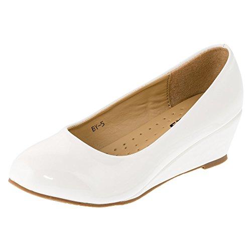 Festliche Mädchen Pumps Ballerinas Schuhe Lackoptik Keilabsatz M152ws Weiß 28 EU