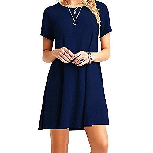 ZHANGNA Frauen Herbst Kleid Damen Sommer Lose Kurzen Ärmeln Casual Dress T-Shirt Kleid Elegante Einfarbig Lose Maxi Kleid (M, Dunkelblau Kurzarm)