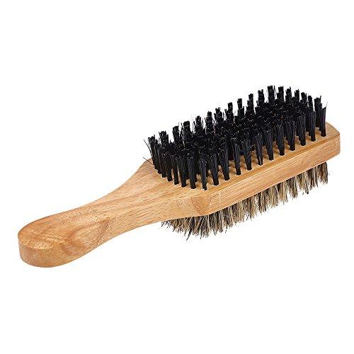 Anself Men's Beard Brush Double-sided Facial Hair Brush Shaving Comb Male Mustache Brush Solid Wood Handle, Agréable au Toucher Brosse à barbe et Bois Naturel (M)