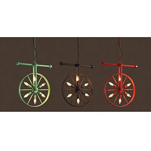 Iluminación Interior - Viento Industrial Personalidad Creativa Comedor Bar Barra de Rueda de Arte Lámpara de Hierro (Color : G)