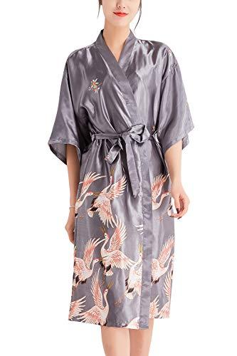 YAOMEI Peignoir de Bain pour Femme Long Kimono, Soft Satin Grue Chemises de Nuit Robes de Chambre et Kimono de Nuit de Demoiselle d'honneur Pyjamas Demoiselle d'honneur la mariée (XX-Large, Argent)