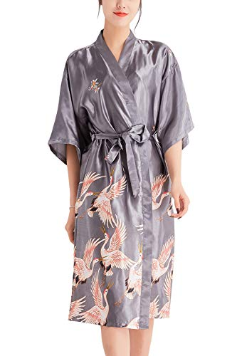 YAOMEI Kimono Albornoz para Mujer, Satín Grua Camisón Robe Albornoz Novia Dama de Honor Ropa de Dormir Pijama, para SPA Hotel Sauna con Bolsillo (XX-Large, Plata)