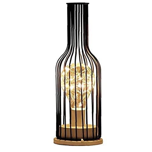 Runfon Led Lámpara Escritorio Botella de Vino Mesa de luz Industrial Metal Hierro Forjado lámpara de decoración del hogar Moderno