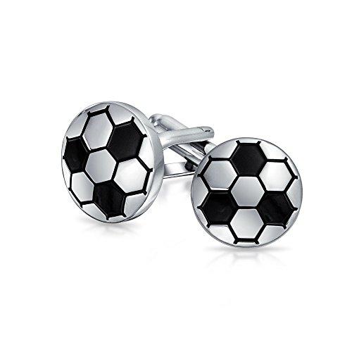 Mens Sports Fan Coach Black Esmalte Fútbol Balón Desenlazos para Hombres Camisa Ejecutiva Cuff Links Bullet Hinge Back Silver Tone Acero Inoxidable