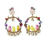 Wbeiba-Earrings-Women's Ohrringe-All-Body-Legierung Ring Vogel Blume Ohrringe Europa und Amerika Damenschmuck