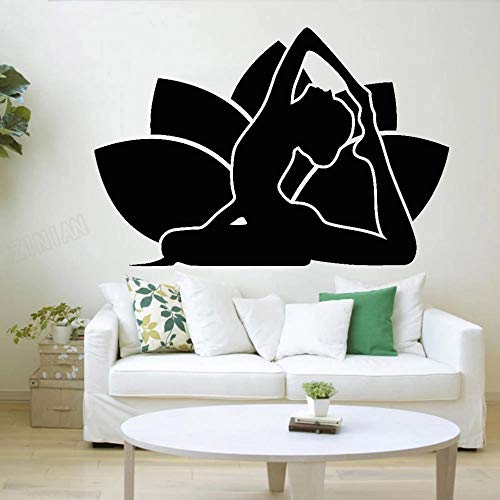 WERWN Lotus Vinilo Pared Dormitorio Yoga Chica Pegatina de Pared Sala de meditación Moderna Sala de Yoga decoración de Ventana