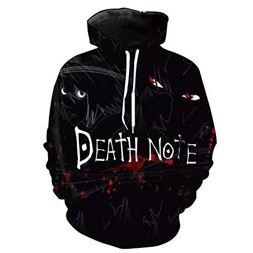 Hoodie Sweatshirt 3D Jungen und Mädchen Death Note Muster Digitaldruck Large Size Pullover Baseball Männer und Frauen-L