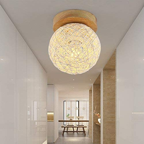 XXIONG Coussin Pastoral en rougein LED 5 W lumière Couronne Couloir escaliers en Bois Massif Chambre Balcon penderie E27 Lampes de Plafond Blanc 150 mm
