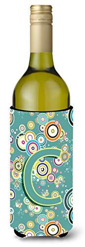 Letra C círculo círculo verde azulado inicial del alfabeto para botella de vino Koozie Hugger cj2015-cliterk