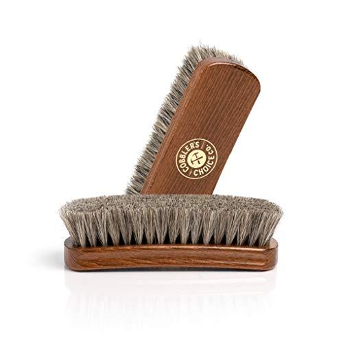 Shoe Brush - 100% Horsehair Shoe Brush - Concaved Handle for Premium Grip, Brown