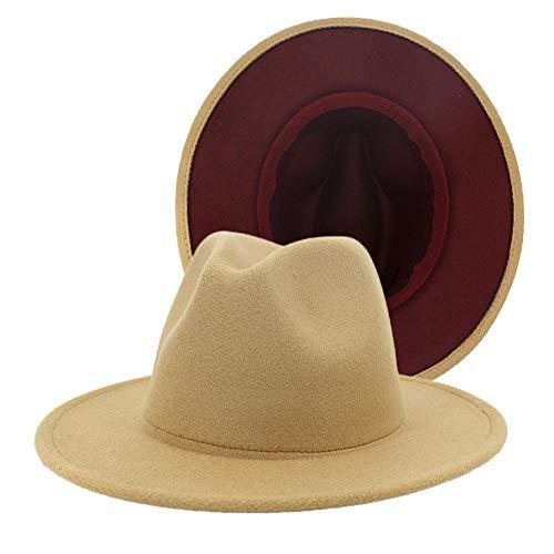 DLSM Otoño e Invierno 38 Colores Estilo británico Hombres y Mujeres Sombrero de Lana de Jazz de Doble Cara a Juego Nuevo Sombrero de ala Plana de ala Grande