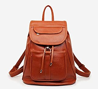PU Leather fashion brown backpack travel backpack for women