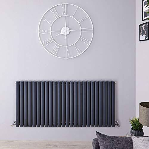 Hudson Reed Radiador Revive Horizontal con Calefacción de Diseño Moderno - Acabado Antracita - Diseño de Columna - 635 x 1411mm - 2236W - Calefacción de Lujo