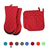 ARCLIBER Oven Mitts and Potholders,4PCS Heat Resistant Kitchen Gloves,Cotton Lining Non-Slip Rubber Surface 2...