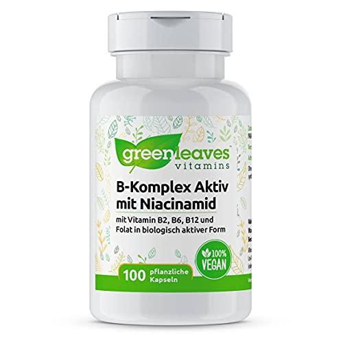 Greenleaves Vitamins - Vitamin B-Komplex Aktiv mit Niacinamid 100 vegetarische Kapseln mit B2, B6, B12, Folat. Ohne flush und 100{3bf432c9a7032cf6b524a11900fa2ccbba17b0d18c84702f25ddb4c7ea06c8d5} Vegan.