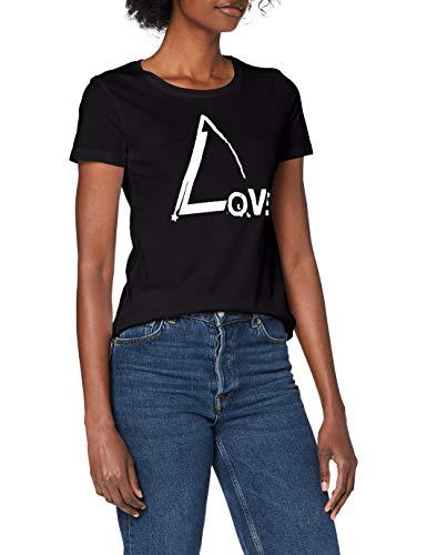 Mavi Damen Love Printed Tee T-Shirt, Black, M