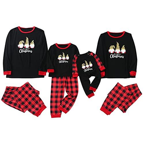 LEIYAN Matching Family Pajamas Collection Casual Color Block Santa Printed Tops Patchwork Bottoms Merry Christmas Sleepwear Black