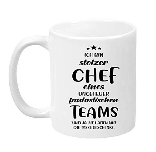 Ich Bin Stolzer Chef Eines Ungeheuer Fantastischen Teams Beidseitig Bedruckt Kaffeetasse Geschenkidee Tea Cup 11 Oz Coffee Mug