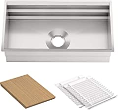 "SINK SIZING: 33"" x 17 3/4"" INCLUDED ACCESSORIES: Sink includes a bamboo cutting board, grated racks, wash bin and colander which are great for draining pasta or defrosting meat. KITCHEN WORKSPACE: The sinks grated ledges allows you to place your acce..."