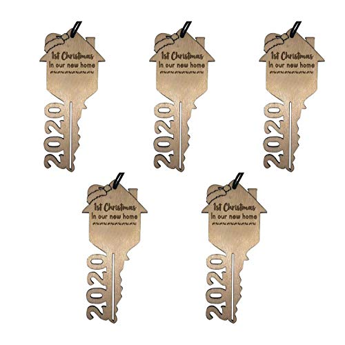 S5E5X Creative DIY Christmas Ornaments Cute House Key Shaped Hanging Ornament Gift for Family