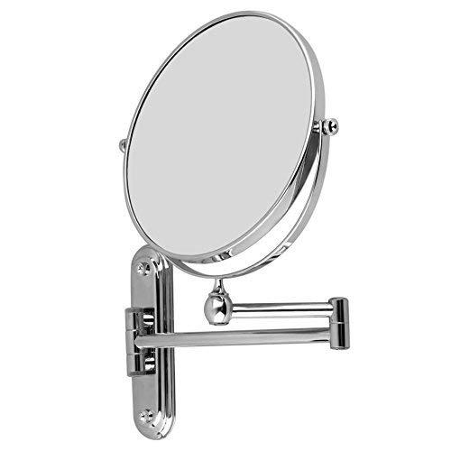 Wisfor Espejo de Aumento de Pared, 10X Ampliación, Espejo de Doble Cara de Aumento y Normal, Espejo Baño Pared Extensible y Plegable para Maquillaje, Giratorio de 360˚
