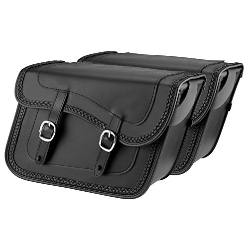 Nomad USA Universal Slanted Black Synthetic Leather Throw Over Motorcycle Saddlebags with Quick Release Buckles (Braided)