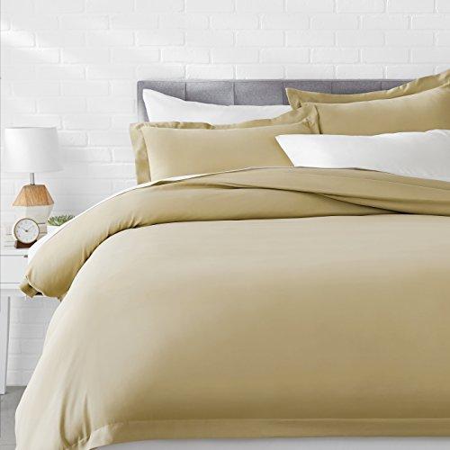 AmazonBasics Microfiber 3-Piece Quilt/Duvet/Comforter Cover Set - King, Olive