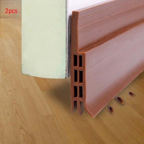 Abseed 2 Stücke Türdichtung Tür-Boden-Dichtungs-Streifen Schalldichtung Fensterdichtung Warme und Kälte Blocker wasserdichtes Tür-Siegel-Abisolieren 100 x 5cm (Braun)