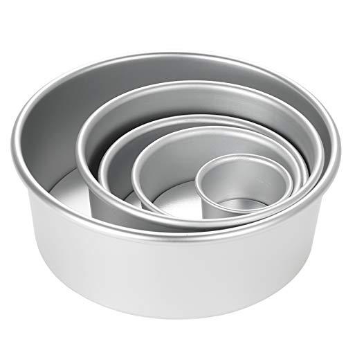 Galapare Molde para Hornear, 5 unids/Set de Molde de Pastel Redondo de aleación de Aluminio, Molde de Pastel de Gasa para Hornear, Molde para Pastel de Queso y pudín con Fondo extraíble