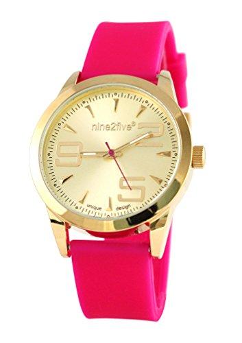 nine2five aevy07rsgl rosa de acero inoxidable de la mujer Dial de Oro Banda de silicona reloj