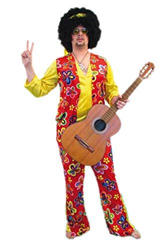 TH-MP Disfraz hippie de los aos 70, disfraz de 3 piezas, para hombre, diseo de flor, pantaln 48/50, camiseta y diadema