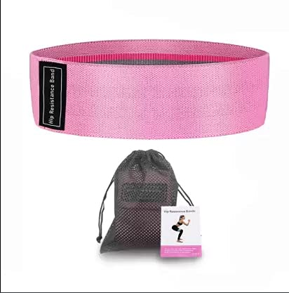 AJSCOP On-Slip Fabric Resistance Band for Men and Women. Stretchable Resistance Loop Bands for Toning Booty Hip Glutes Thighs Squat Legs Yoga Pilates at Home, Outdoors or Gym (Pink (Light))