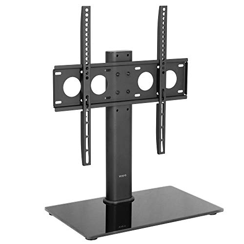 VIVO Black Universal TV Stand for 32 to 50 inch LCD LED Flat Screens, Tabletop VESA Mount with Tempered Glass Base and Cable Management STAND-TV00J