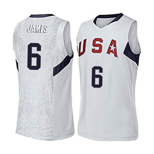 Herren Basketball Kleidung Basketball T-Shirt, Lebron James Nr. 6 Herren Sportkleidung Bequeme und einfache Wilde Basketballspieler Kleidung Geschenk-White-XL