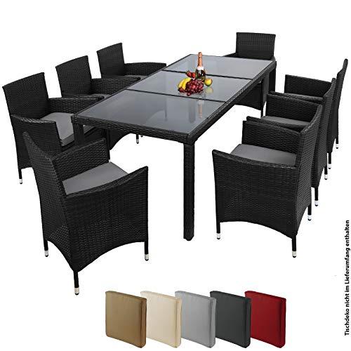 Montafox 17-teilige Polyrattan Garten Essgruppe Terasse Sitzgruppe 8 Personen Gartenmöbel mit Kissen und Bezügen, Farbe:Titan-Schwarz/Kieselstrand - 4
