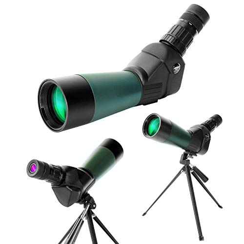 Aomekie Spektiv mit Stativ und Sonnenblende 20-60x60 BAK4 Wasserdicht Spektive für Sportschützen Jagd Vogelbeobachtung
