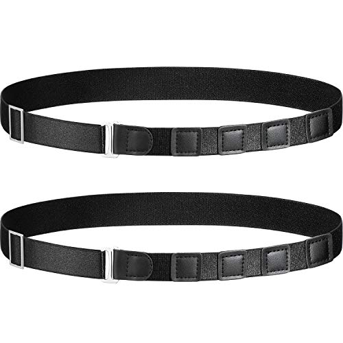 Shirt Stay Belt Adjustable Elastic Shirt Holder Lock Keep Shirt Tucked in (Black)