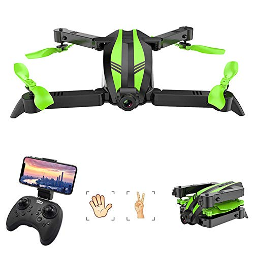 HUAXM Pliant Mini-Drone, avec 1080P caméra pour Les débutants, avec Connexion Wi-FI Batteries Double, Maintien d'altitude, Anti-Collision RC Toy Drones pour Enfants et Adultes,Vert