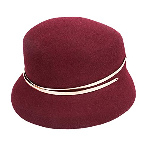 ReedG Sombrero de Copa Sombrero de Cuenca de Lana de otoño e Invierno for Damas cálidas Sombrero de Copa para Mujeres (Color : Wine Red, Size : One Size)