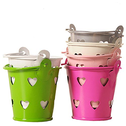 YUECUTE Mini cubo de metal lata fresca caja de dulces cubo recuerdos regalos pines hueco colorido hojalata Tinplate Pails regalo boda fiesta cubo de servir, Chip Bucket, Condiment Packet Holder