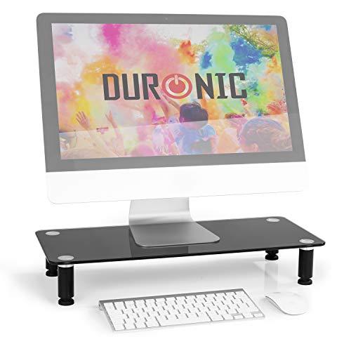 Duronic DM052-2 Elevador para Pantalla, Ordenador Portátil, Televisor - 56 x 24 cm- Cristal Negro, Soporta hasta 20 kg