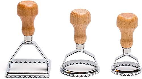 Juego de cortadores de ravioles de 3, sellos de ravioles tradicionales con mango de madera, cómodo y fácil, máquina de ravioles ideal para pasta casera