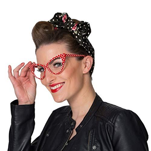 NET TOYS Angesagte Rockabilly Brille mit Polka Dots - Weiß-Rot - Hinreißendes Damen-Kostüm-Zubehör 50er Jahre Partybrille Pin Up Girl - Bestens geeignet für Mottoparty & Fasching
