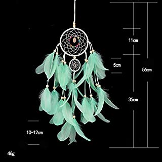 JIFRUCHS DIY Owl Crafts Dream Catcher Wind Chimes Handmade Net with Feather Beads for Wall Hanging Home Decor Light Green