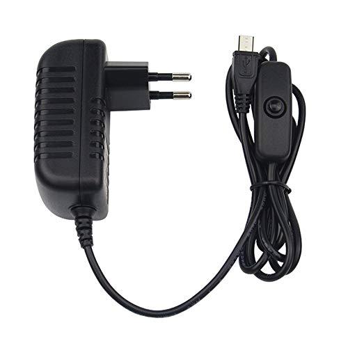 N / E Cargador de fuente de alimentación de 5 V 3 A, adaptador de CA, cable micro USB con interruptor de encendido y apagado para Raspberry Pi 3 pi Pro Modelo B B+ Plus