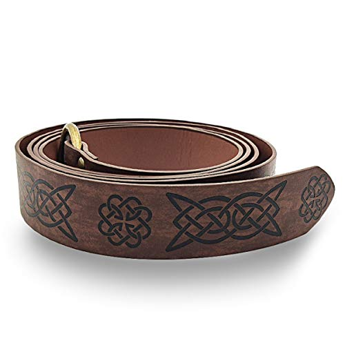 AISHFP Medieval Unisex Leather Waist Ring, Renaissance Celtic Style Embossed Vintage Belt Cosplay Clothing Adult Pants Belt Costume Accessories for Fashion Men,Q2