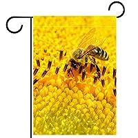 ガーデンフラッグ両面印刷防水蜂の昆虫の黄色い花 庭、庭の屋外装飾用